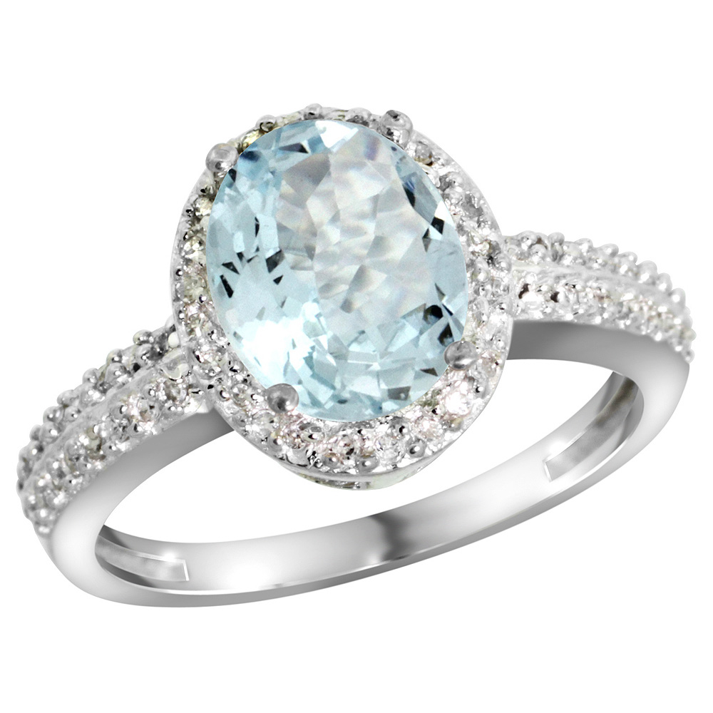 Sterling Silver Diamond Natural Aquamarine Ring Oval 9x7mm, 1/2 inch wide, sizes 5-10