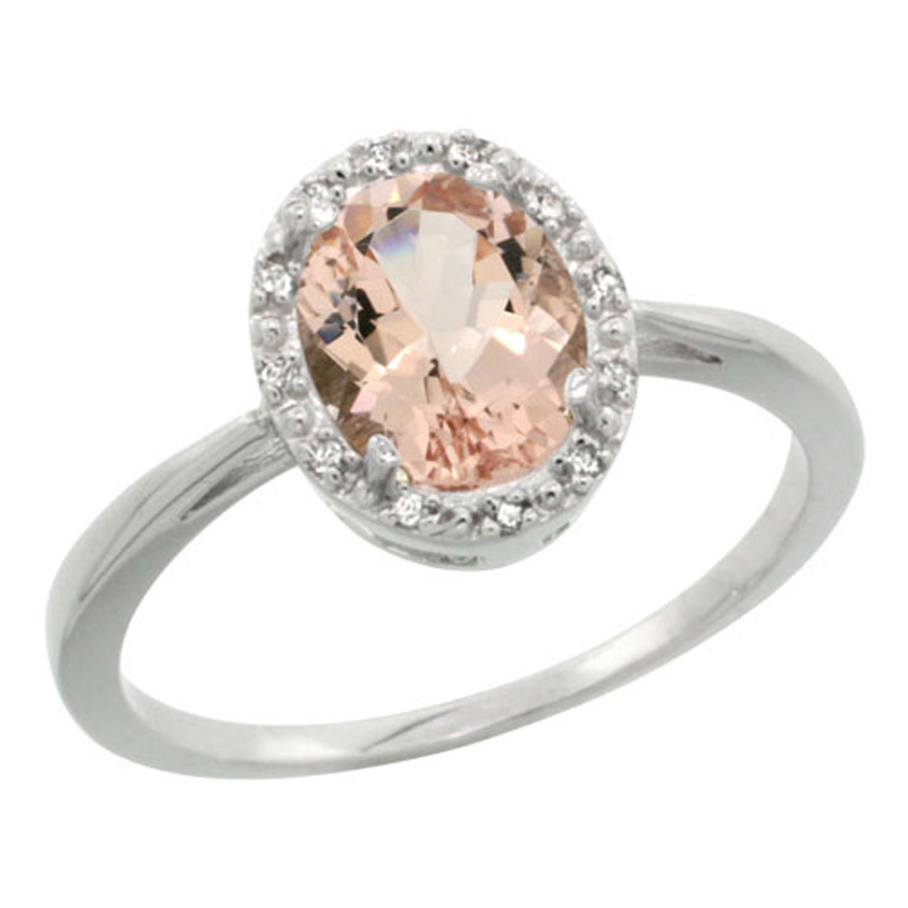 Sterling Silver Natural Morganite Diamond Halo Ring Oval 8X6mm, 1/2 inch wide, sizes 5-10