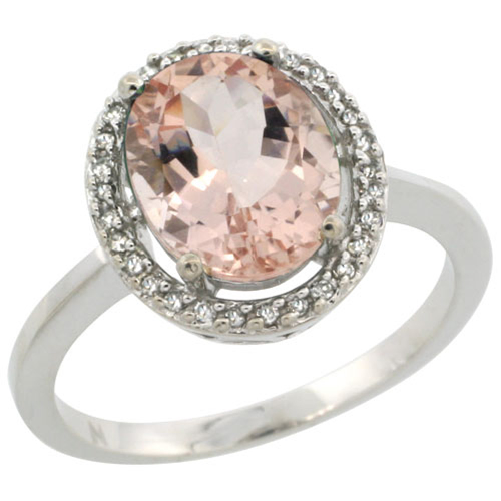 Sterling Silver Diamond Halo Natural Morganite Ring Oval 10X8 mm, 1/2 inch wide, sizes 5-10