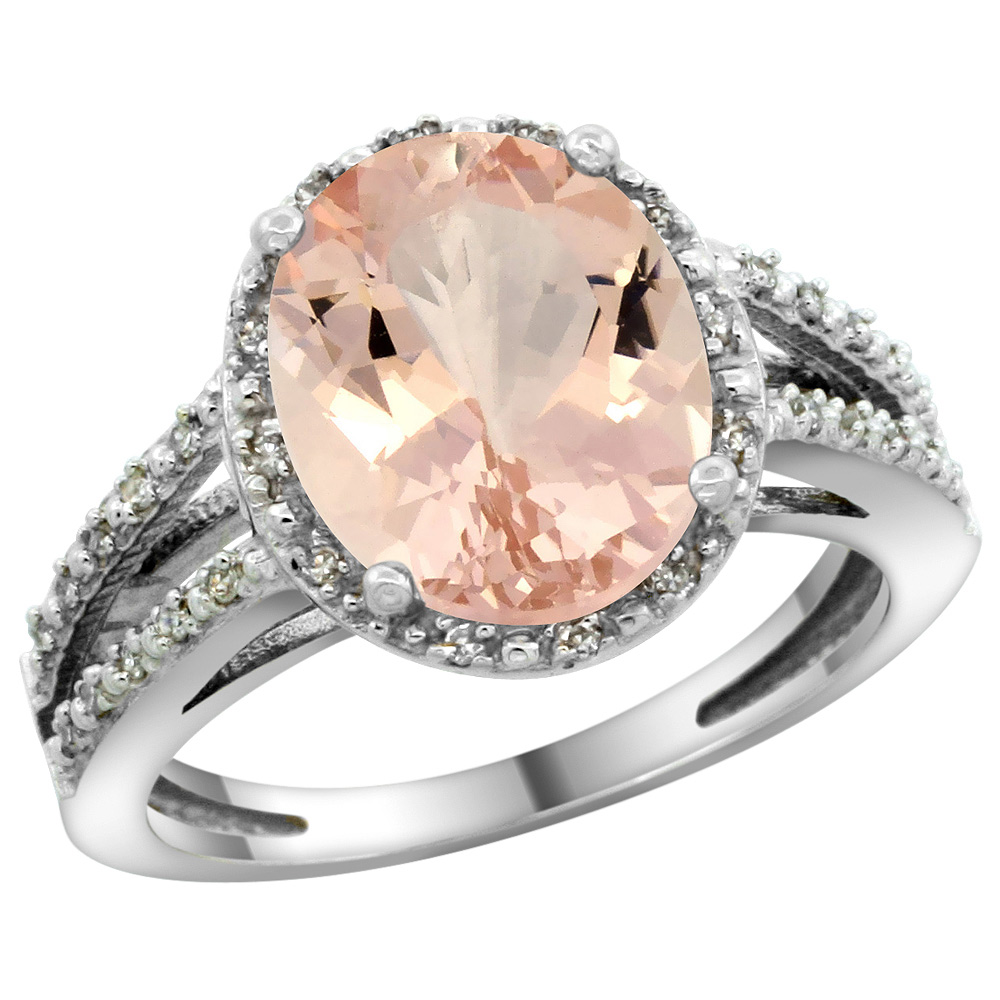 Sterling Silver Diamond Halo Natural Morganite Ring Oval 11x9mm, 7/16 inch wide, sizes 5-10