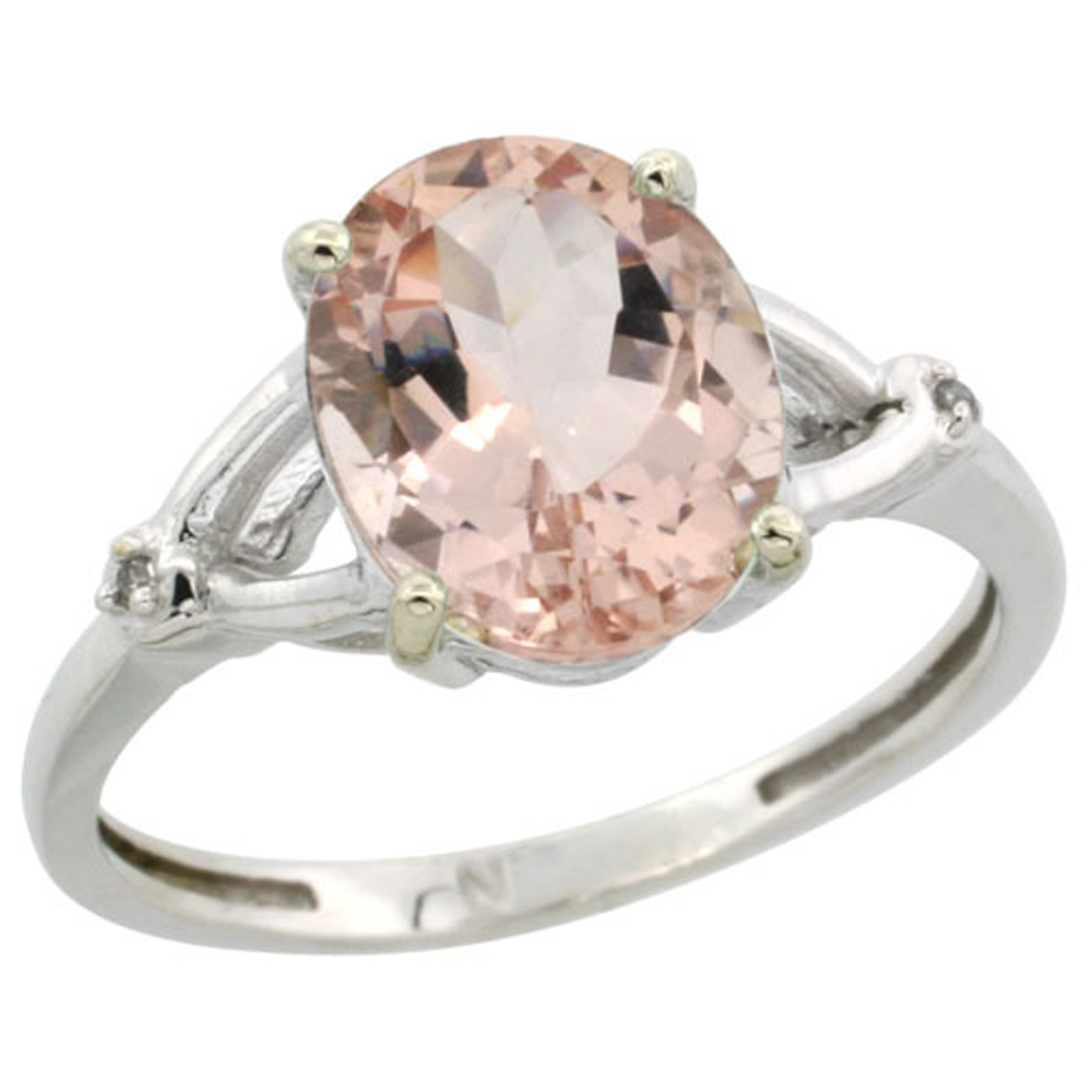 Sterling Silver Diamond 10x8mm Oval 10x8mm Oval Natural Morganite Engagement Ring for Women 3/8 inch wide Sizes 5-10