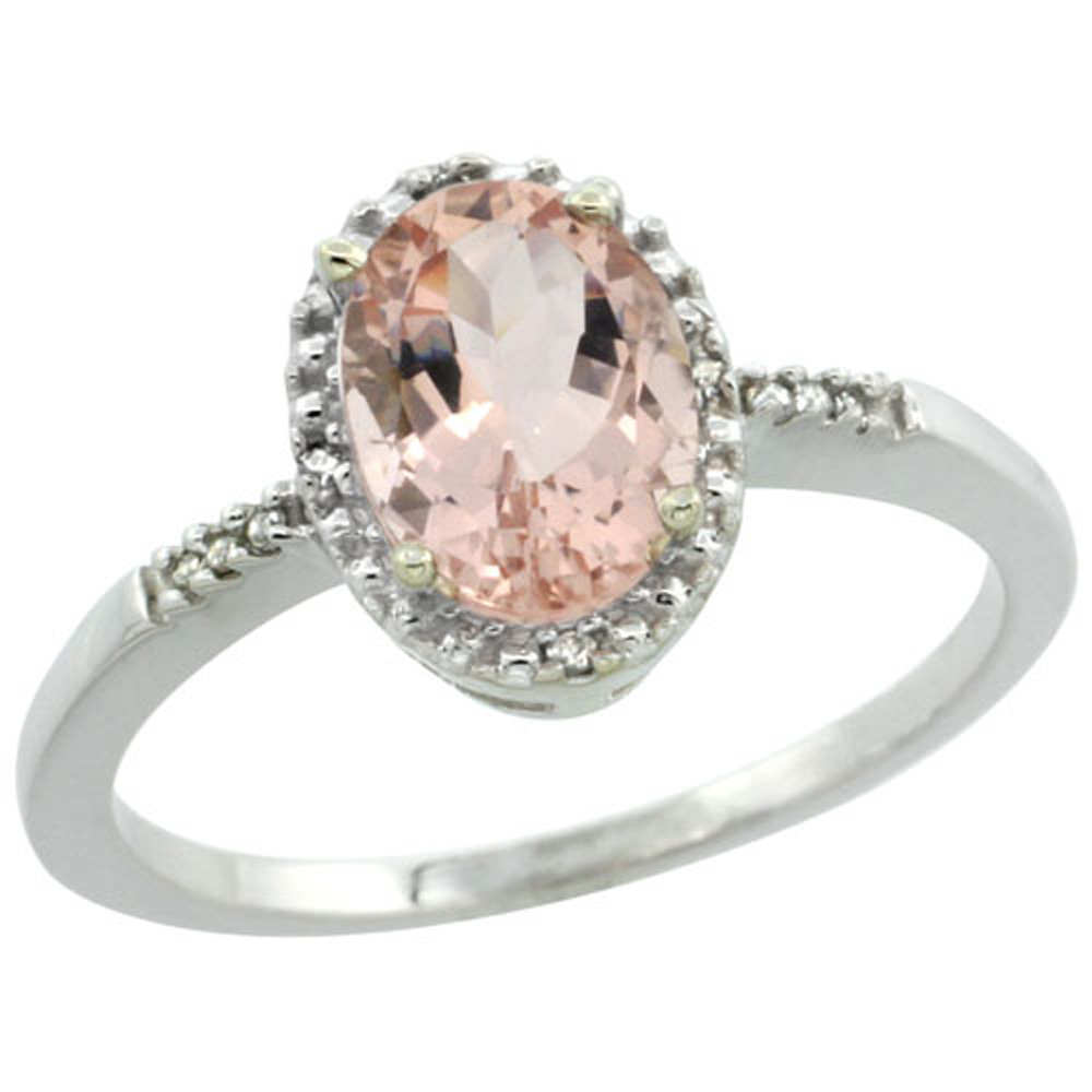 Sterling Silver Diamond Natural Morganite Ring Oval 8x6mm, 3/8 inch wide, sizes 5-10