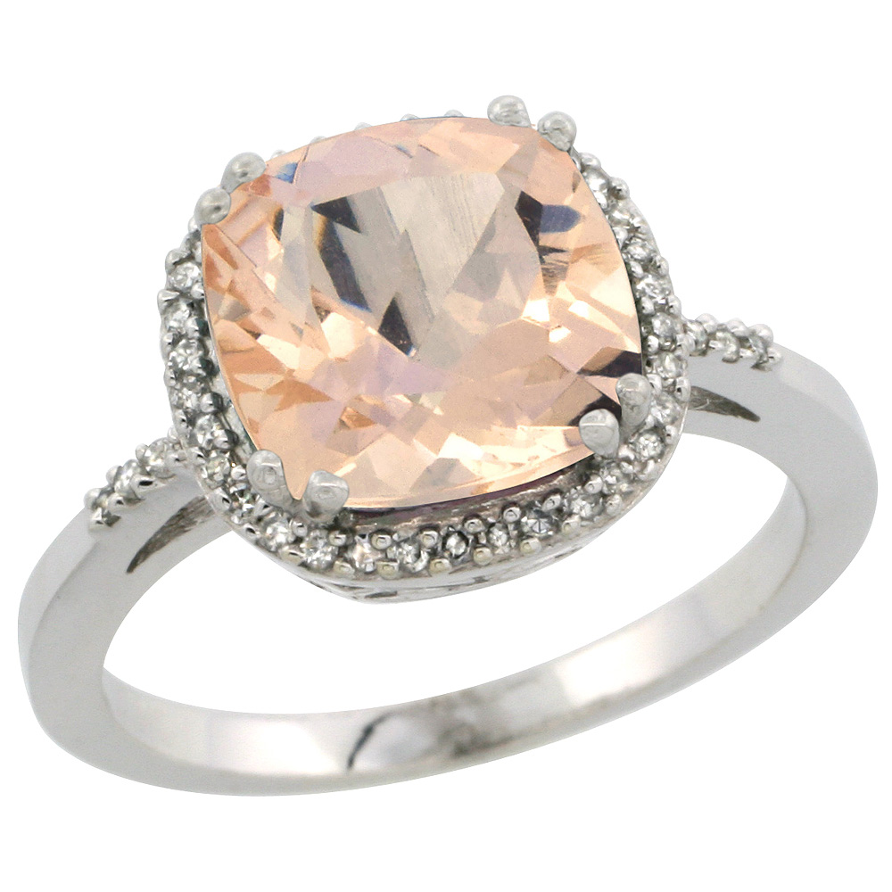 Sterling Silver Diamond Natural Morganite Ring Cushion-cut 9x9mm, 1/2 inch wide, sizes 5-10