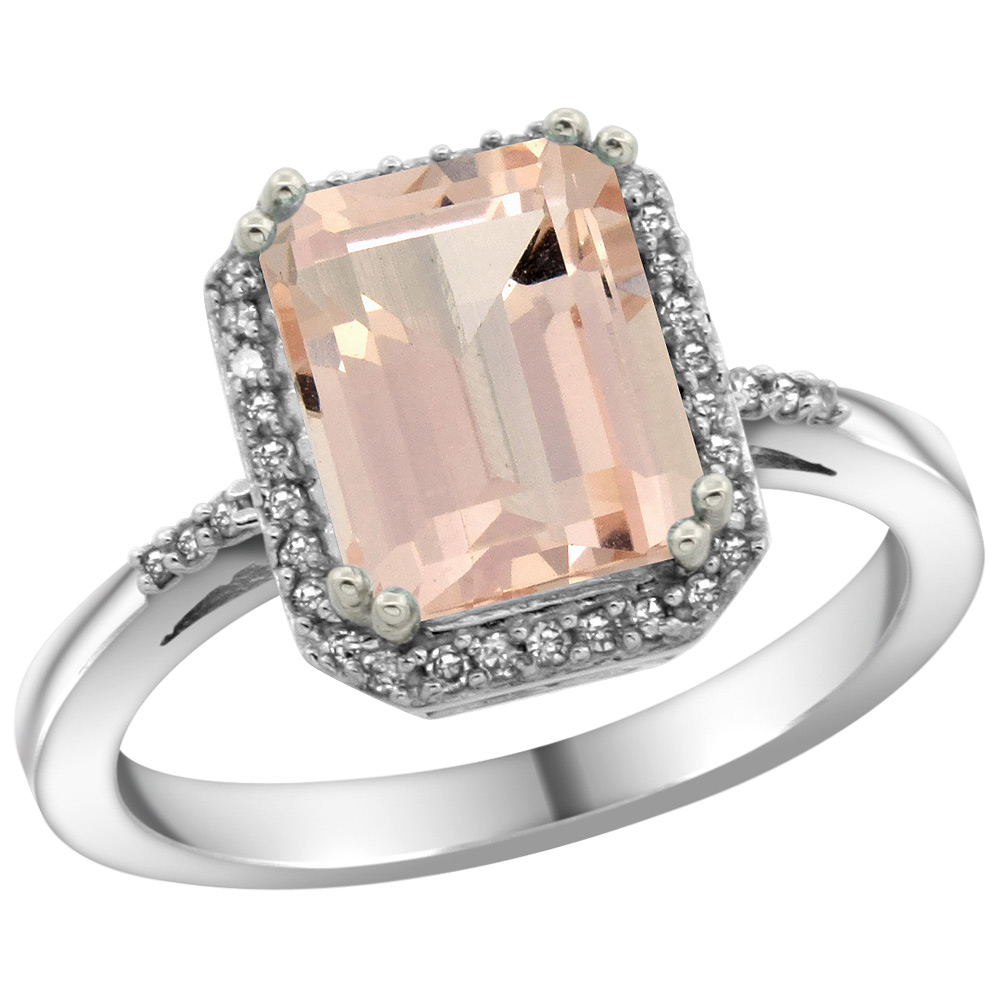 Sterling Silver Diamond Natural Morganite Ring Emerald-cut 9x7mm, 1/2 inch wide, sizes 5-10