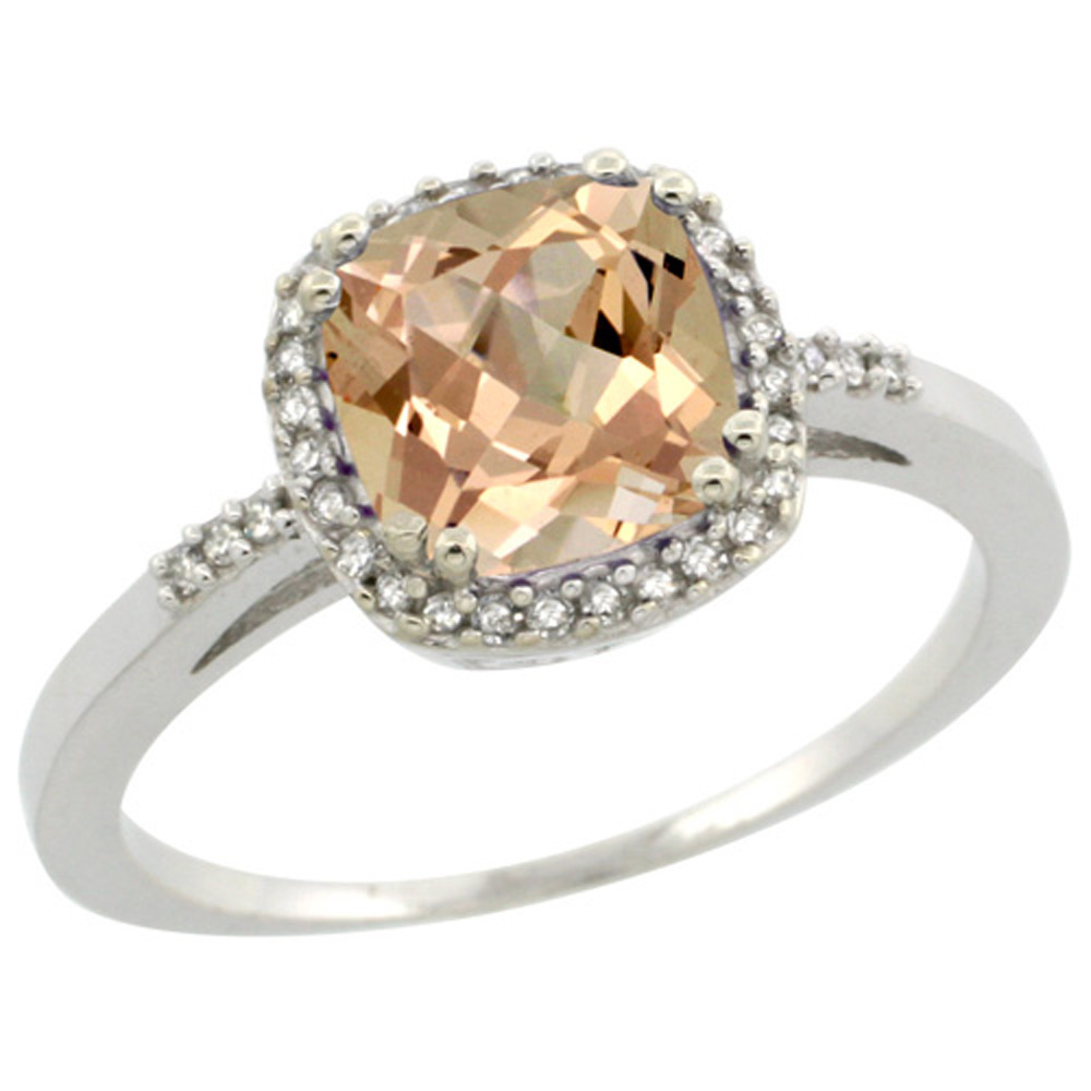 Sterling Silver Diamond Morganite Ring Cushion-cut 7x7mm, 3/8 inch wide, sizes 5-10