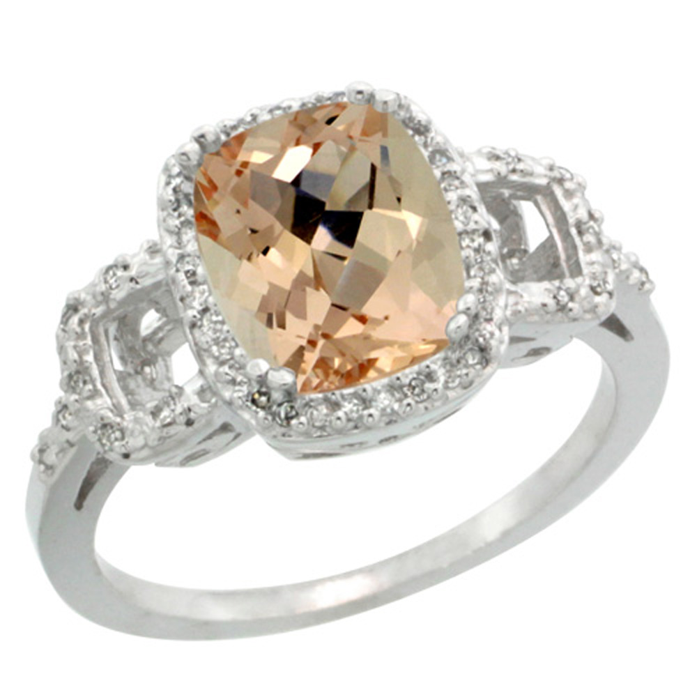 Sterling Silver Diamond Morganite Ring Cushion-cut 9x7mm, 1/2 inch wide, sizes 5-10