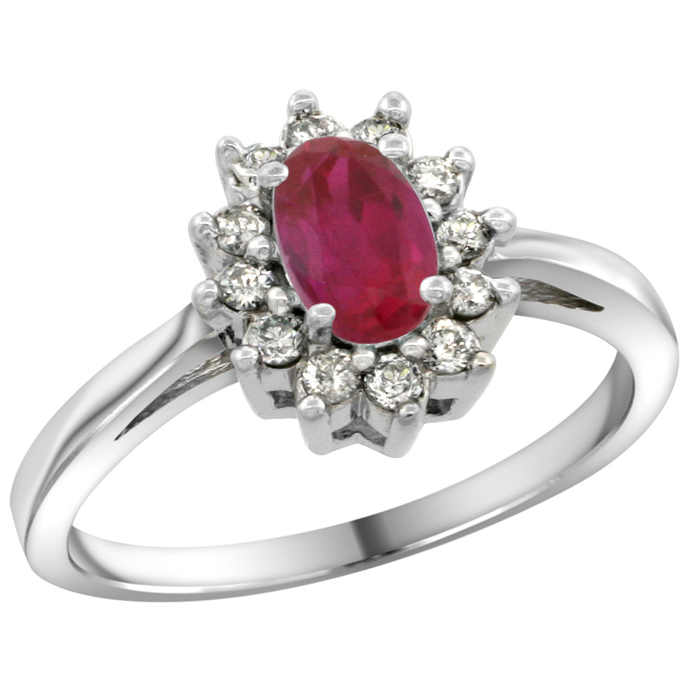 Sterling Silver Natural Enhanced Ruby Diamond Flower Halo Ring Oval 6X4mm, 3/8 inch wide, sizes 5 10