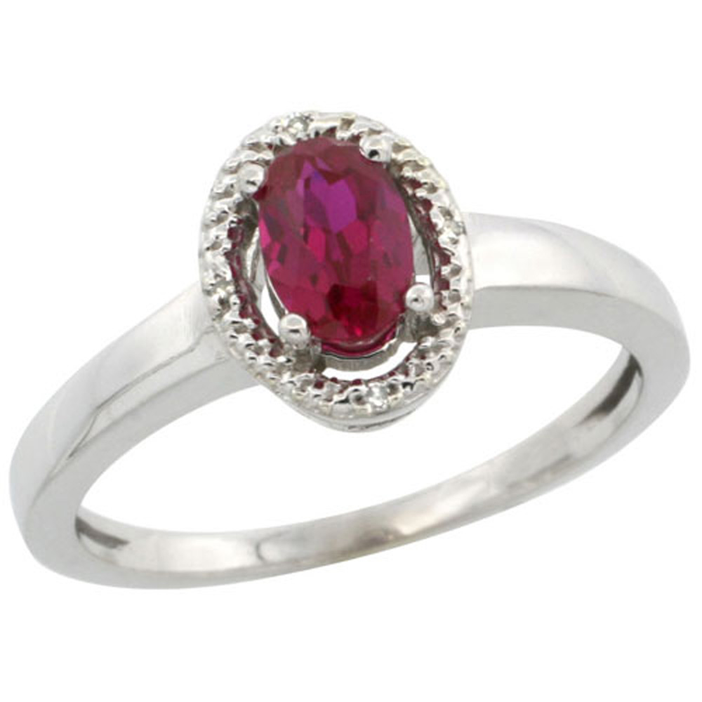 Sterling Silver Diamond Halo Natural Enhanced Ruby Ring Oval 6X4 mm, 3/8 inch wide, sizes 5-10