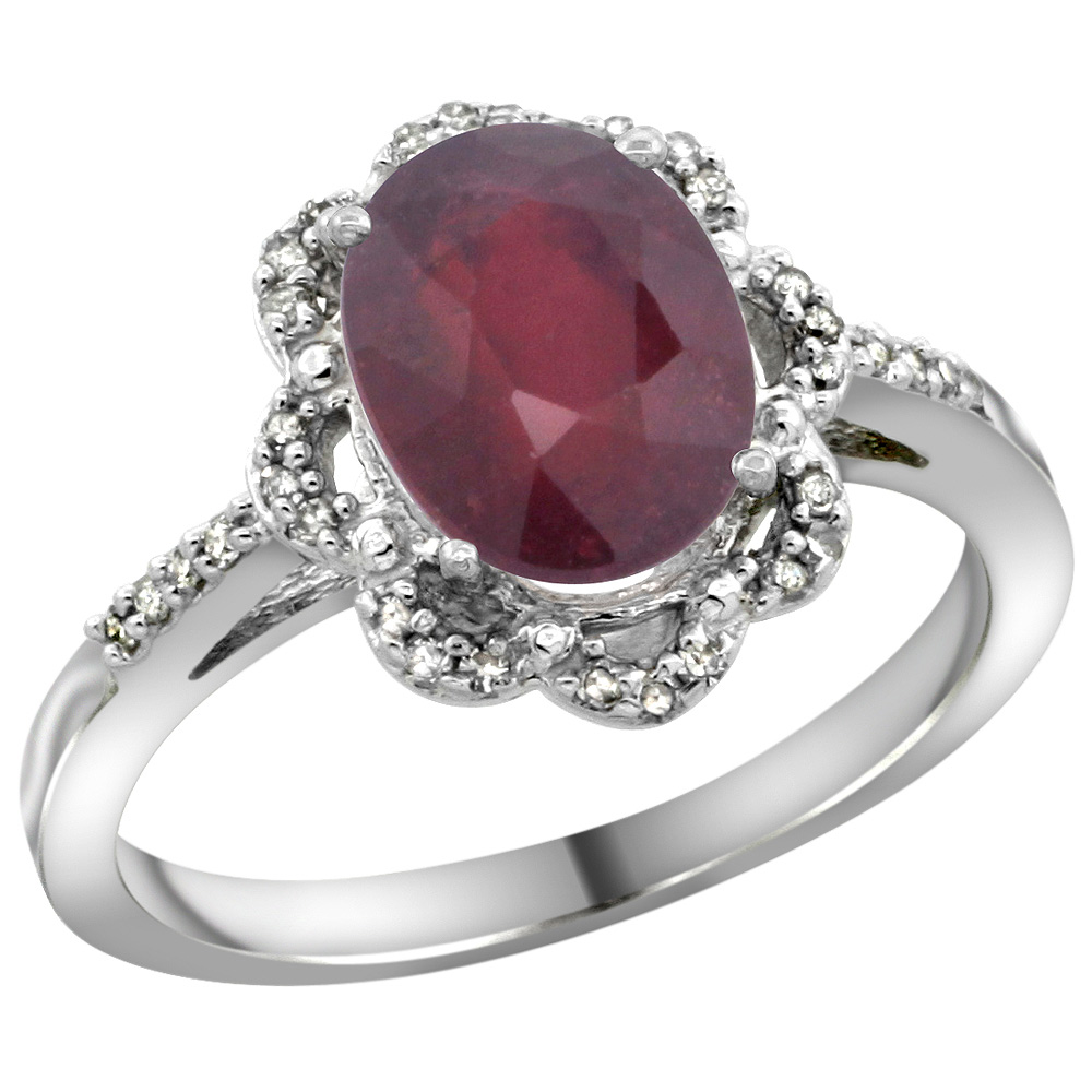 Sterling Silver Diamond Halo Natural Enhanced Ruby Ring Oval 9x7mm, 7/16 inch wide, sizes 5-10