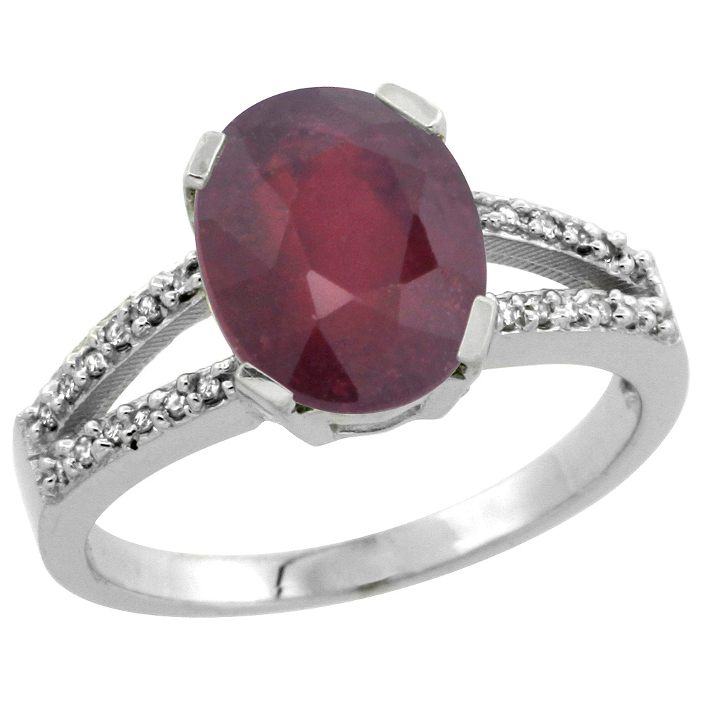 Sterling Silver Diamond Halo Natural Enhanced Ruby Ring Oval 10x8mm, 3/8 inch wide, sizes 5-10