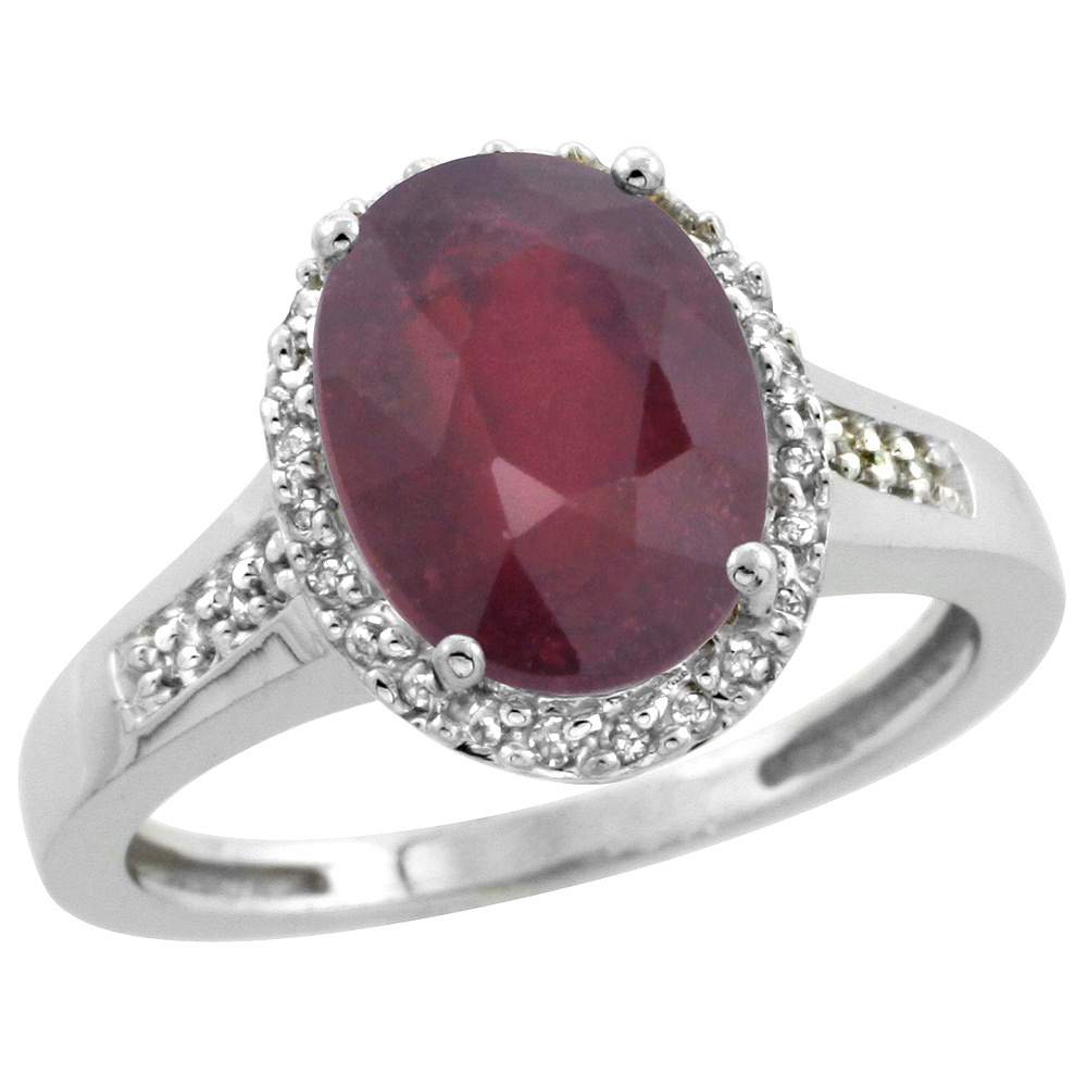 Sterling Silver Diamond Natural Enhanced Ruby Ring Oval 10x8mm, 1/2 inch wide, sizes 5-10