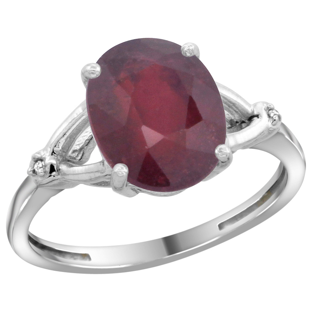 Sterling Silver Diamond Natural Enhanced Ruby Ring Oval 10x8mm, 3/8 inch wide, sizes 5-10