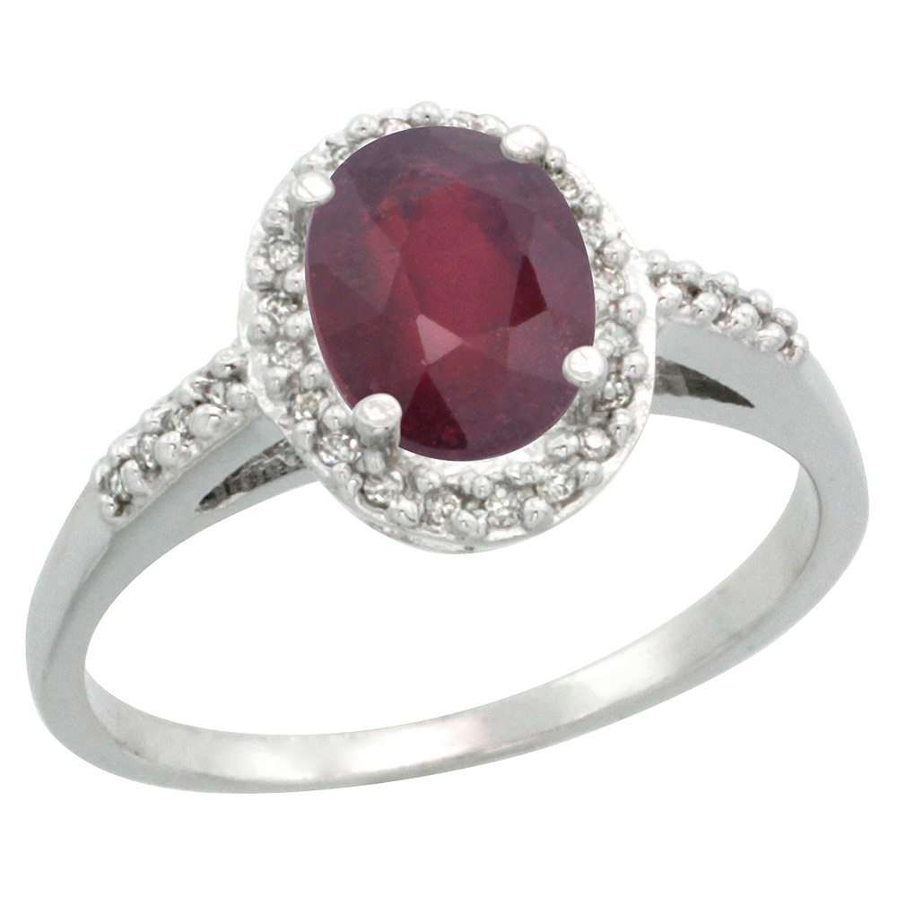 Sterling Silver Diamond Natural Enhanced Ruby Ring Oval 8x6mm, 3/8 inch wide, sizes 5-10