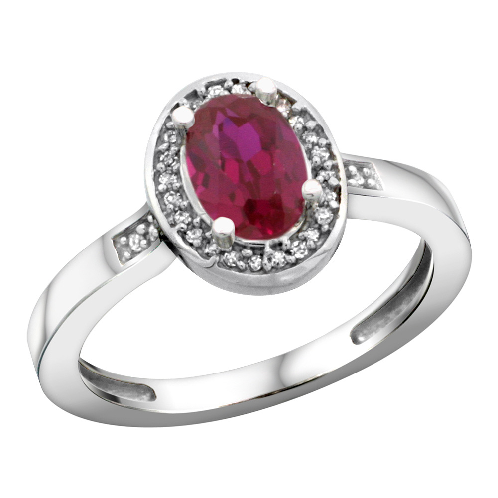 Sterling Silver Diamond Natural Enhanced Ruby Ring Oval 7x5mm, 1/2 inch wide, sizes 5-10