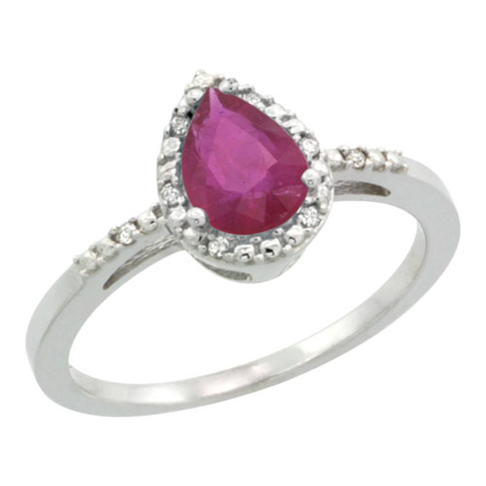 Sterling Silver Diamond Natural Enhanced Ruby Ring Pear 7x5mm, 3/8 inch wide, sizes 5-10