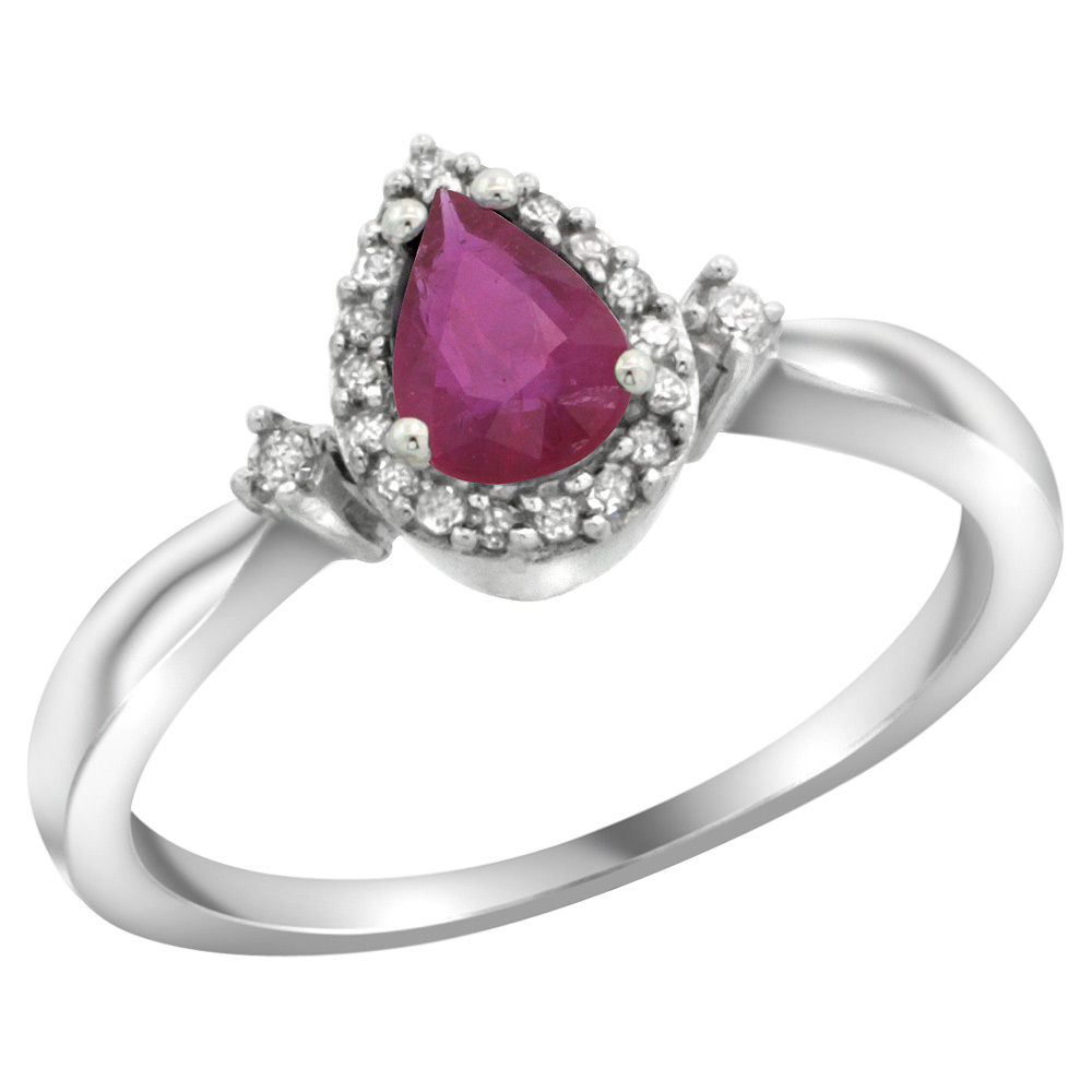 Sterling Silver Diamond Natural Enhanced Ruby Ring Pear 6x4mm, 3/8 inch wide, sizes 5-10