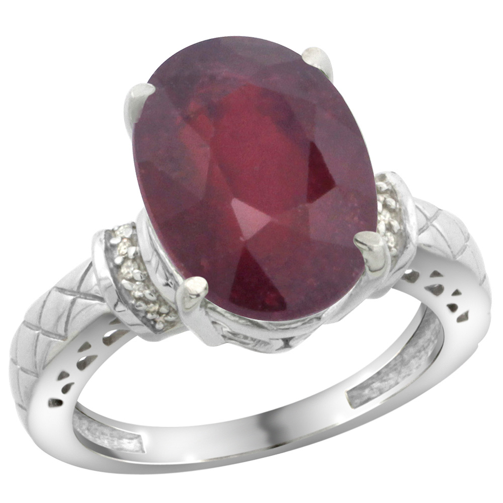 Sterling Silver Diamond Natural Enhanced Ruby Ring Oval 14x10mm, sizes 5-10