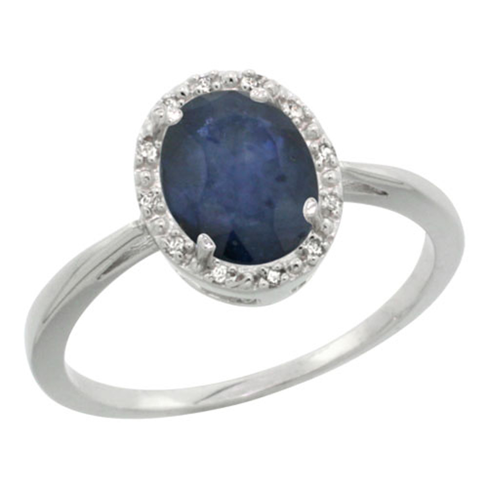 Sterling Silver Natural Blue Sapphire Diamond Halo Ring Oval 8X6mm, 1/2 inch wide, sizes 5 10