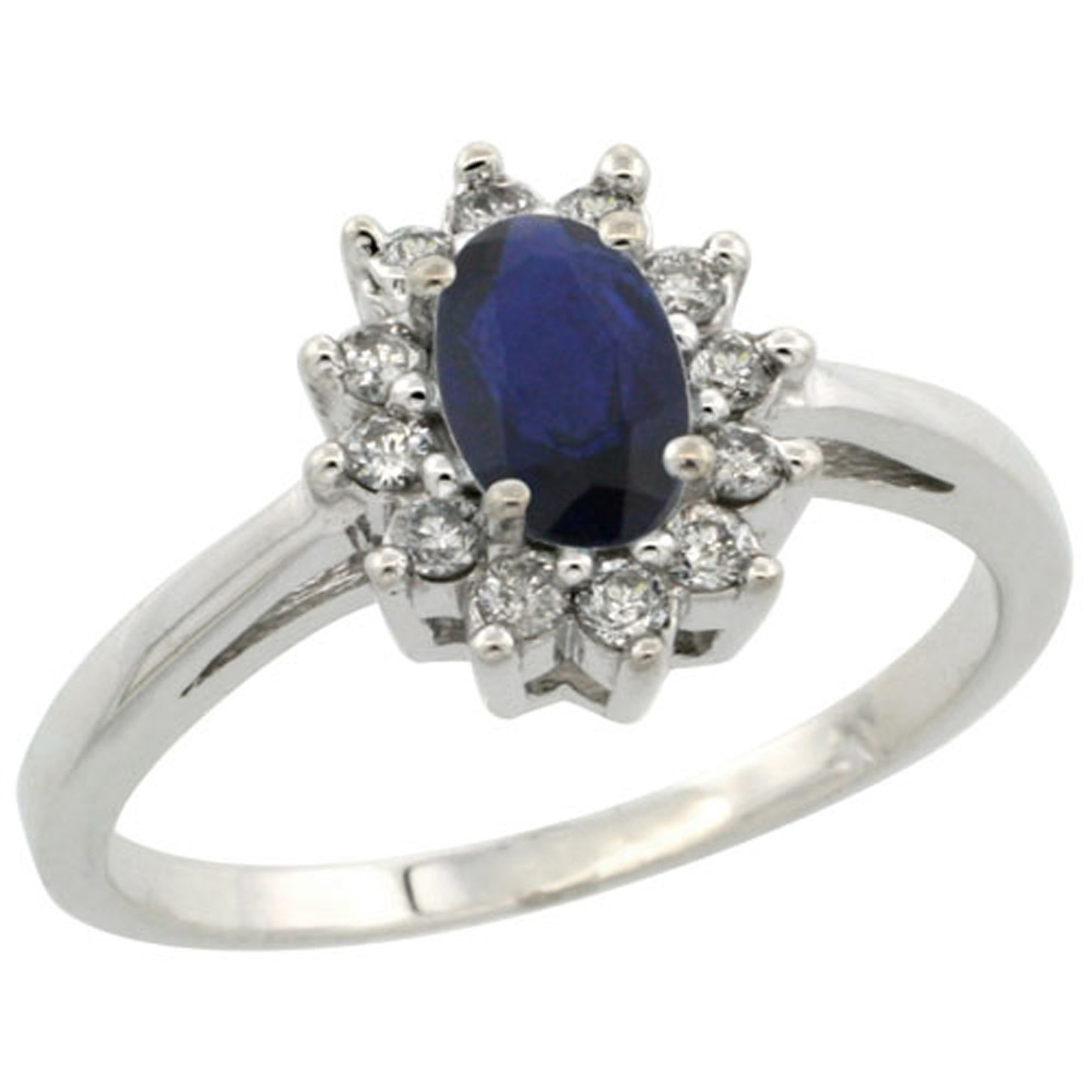 Sterling Silver Natural High Quality Blue Sapphire Diamond Flower Halo Ring Oval 6X4mm, 3/8 inch wide, sizes 5 10
