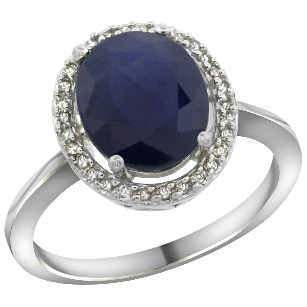 Sterling Silver Diamond Halo Natural Blue Sapphire Ring Oval 10X8 mm, 1/2 inch wide, sizes 5-10