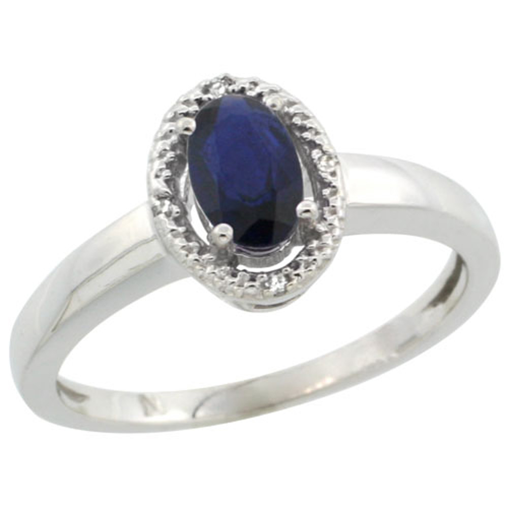 Sterling Silver Diamond Halo Natural High Quality Blue Sapphire Ring Oval 6X4 mm, 3/8 inch wide, sizes 5-10