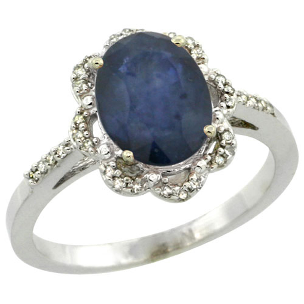 Sterling Silver Diamond Halo Natural Blue Sapphire Ring Oval 9x7mm, 7/16 inch wide, sizes 5-10