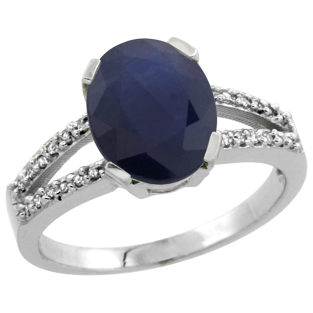 Sterling Silver Diamond Halo Natural Blue Sapphire Ring Oval 10x8mm, 3/8 inch wide, sizes 5-10
