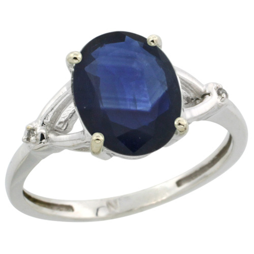 Sterling Silver Diamond Natural Blue Sapphire Ring Oval 10x8mm, 3/8 inch wide, sizes 5-10
