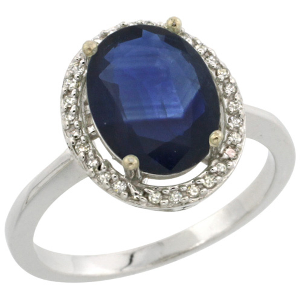 Sterling Silver Diamond Natural Blue Sapphire Ring Oval 10x8mm, 1/2 inch wide, sizes 5-10