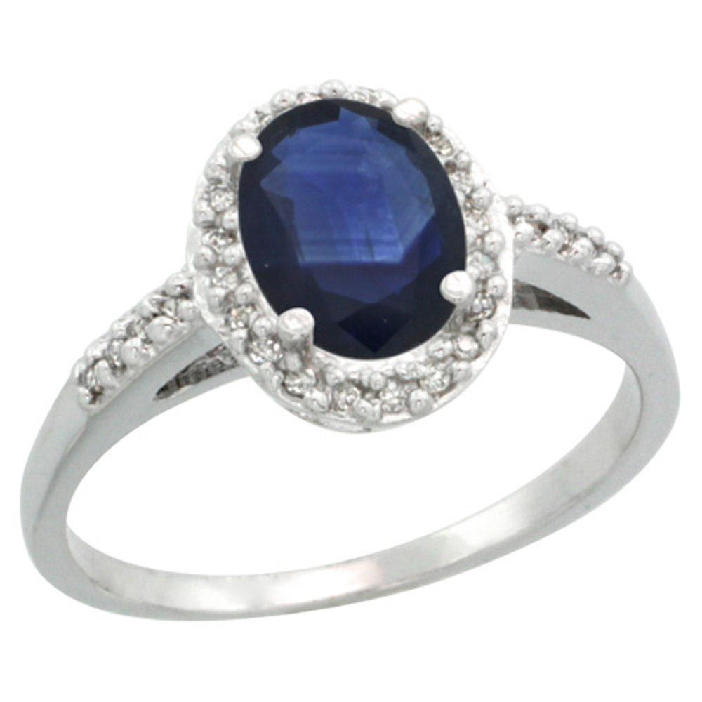 Sterling Silver Diamond Blue Sapphire Ring Oval 8x6mm, 3/8 inch wide, sizes 5-10