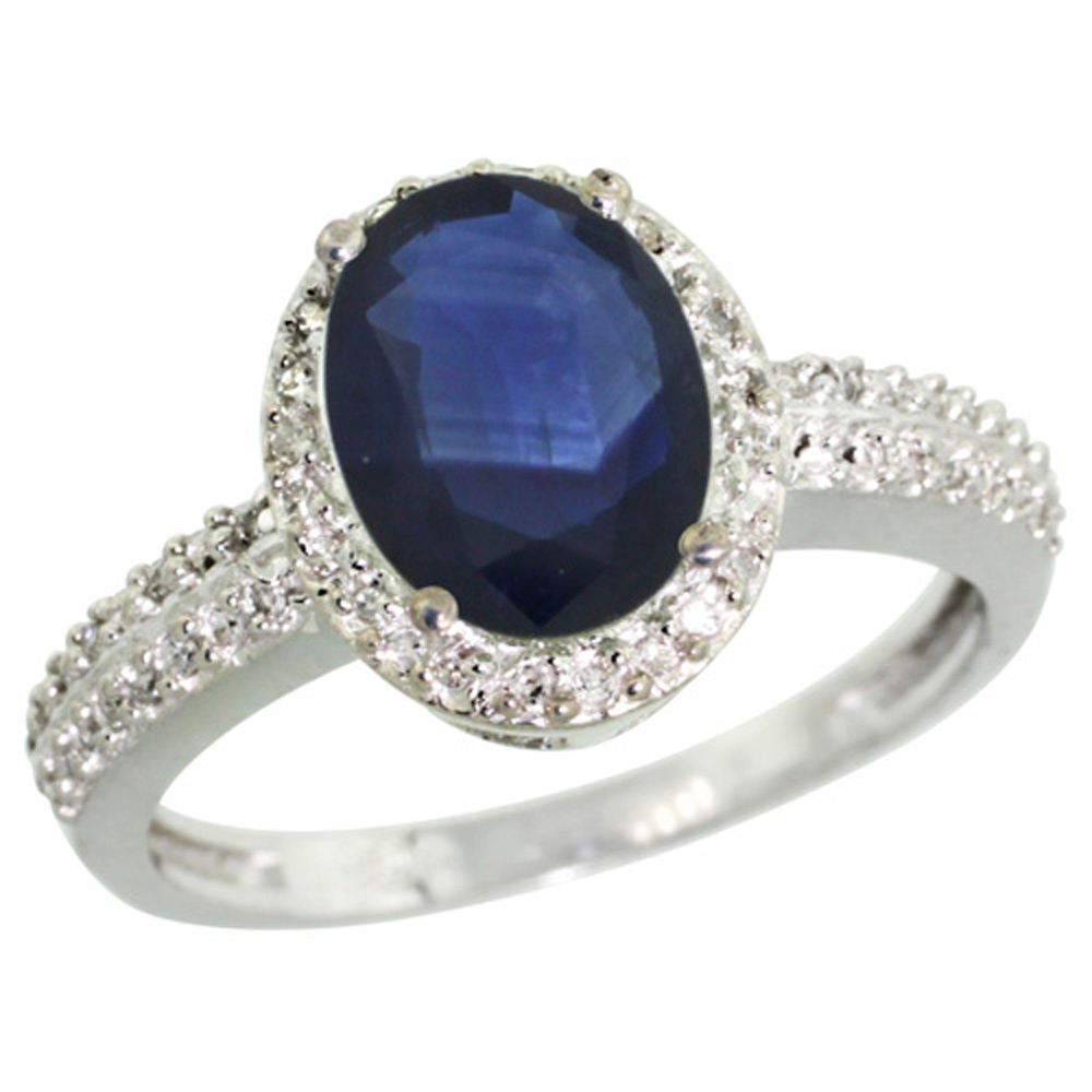 Sterling Silver Diamond Blue Sapphire Ring Oval 9x7mm, 1/2 inch wide, sizes 5-10
