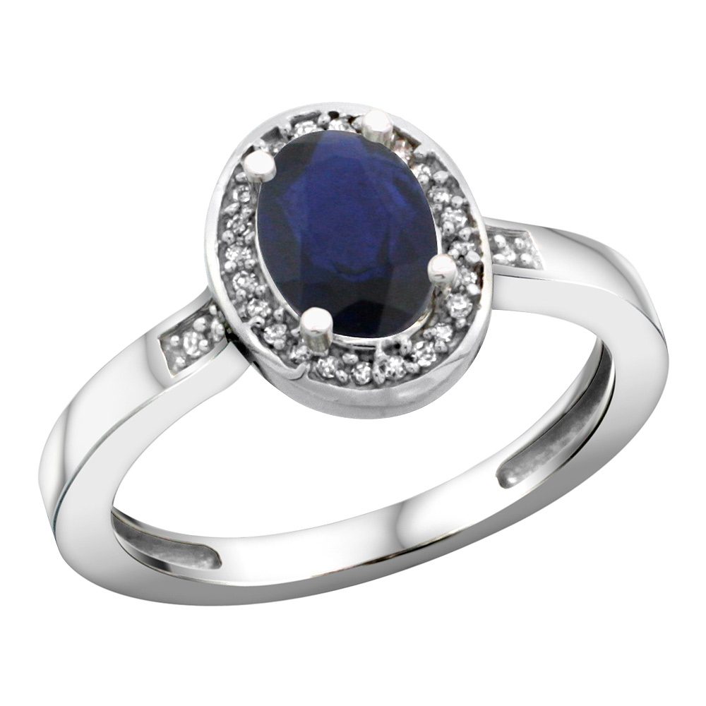Sterling Silver Diamond Natural Blue Sapphire Ring Oval 7x5mm, 1/2 inch wide, sizes 5-10