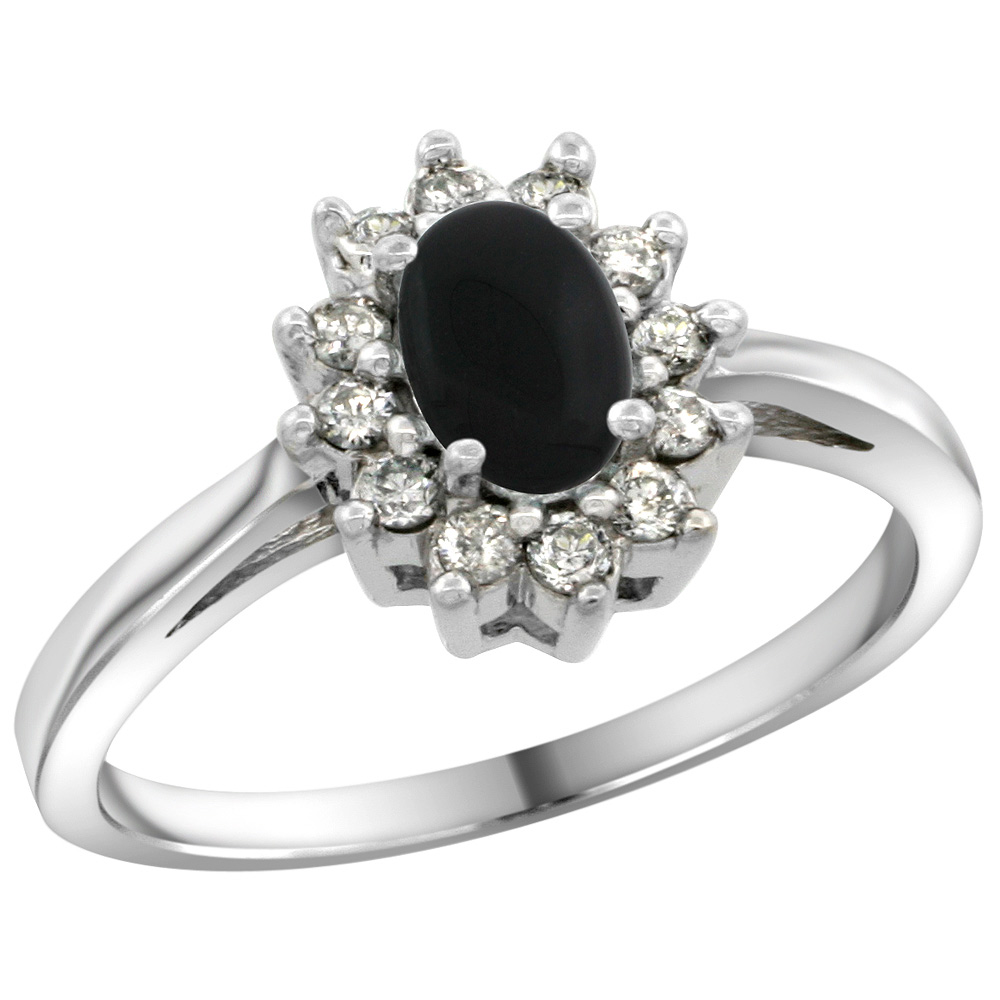 Sterling Silver Natural Black Onyx Diamond Flower Halo Ring Oval 6X4mm, 3/8 inch wide, sizes 5 10