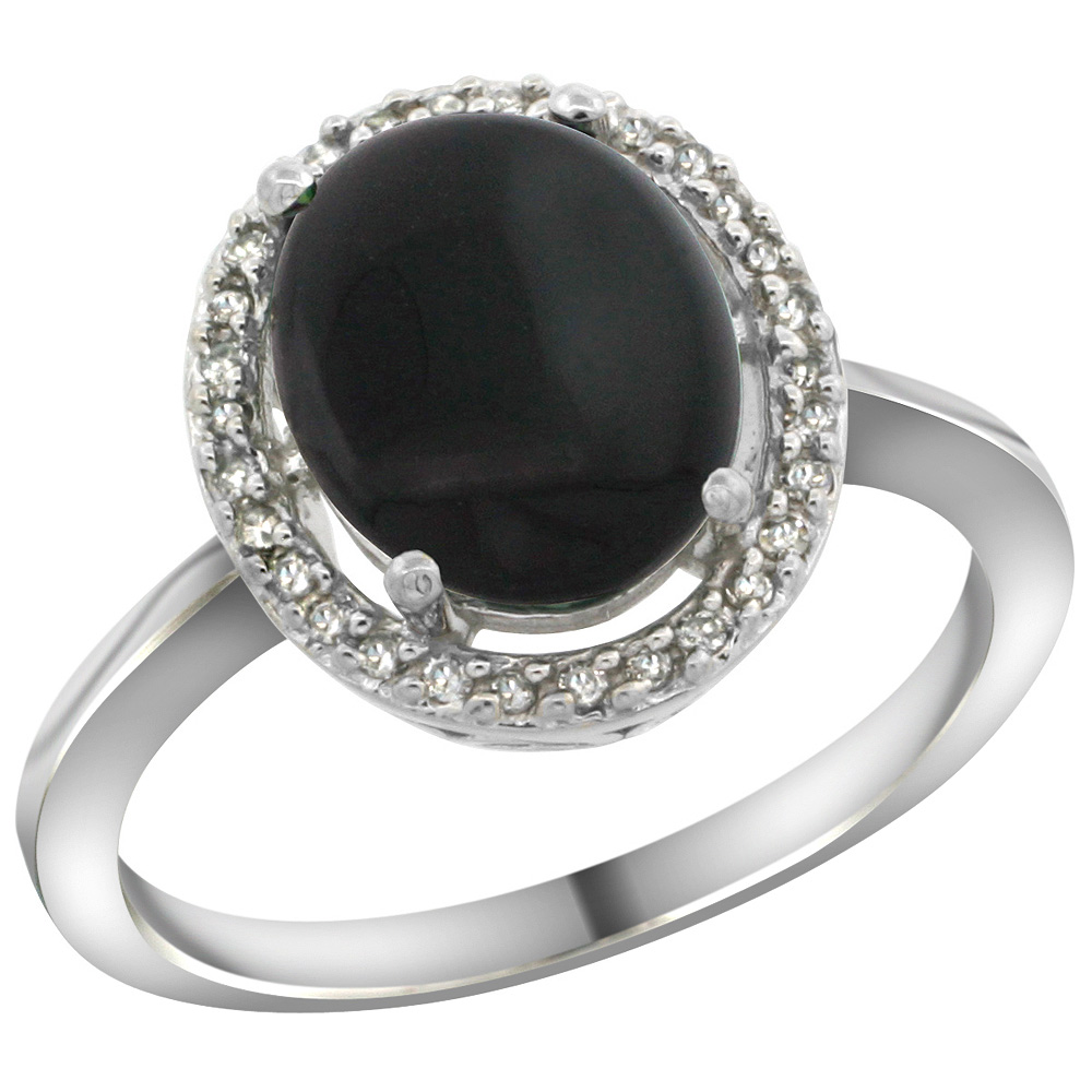 Sterling Silver Diamond Halo Natural Black Onyx Ring Oval 10X8 mm, 1/2 inch wide, sizes 5-10