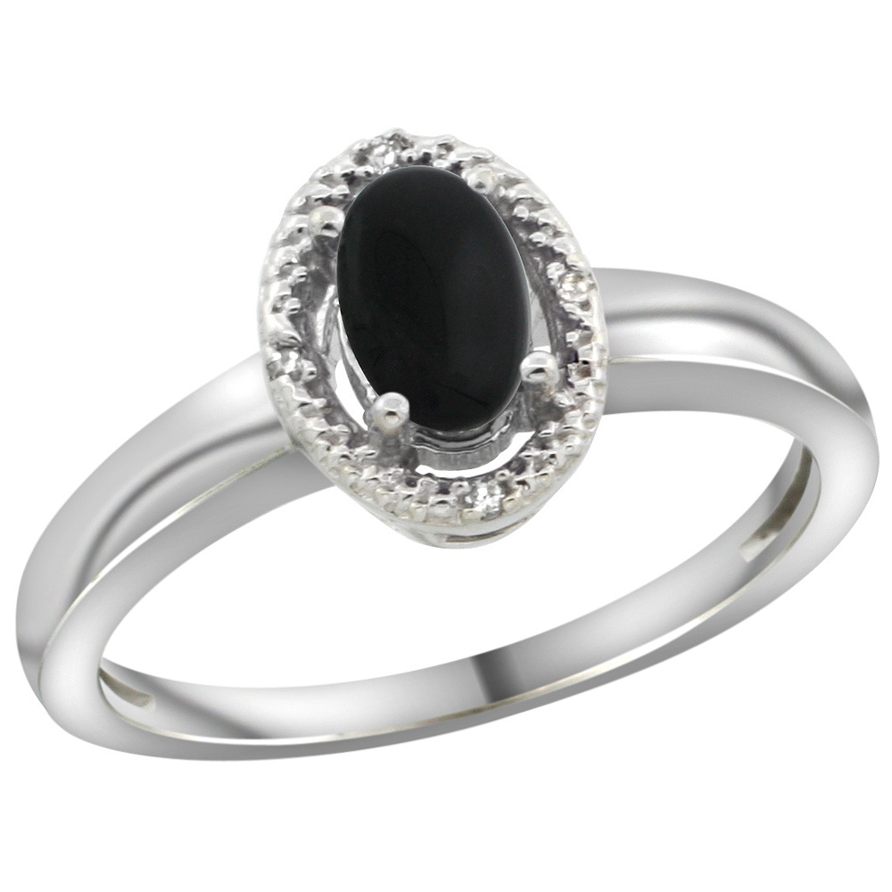 Sterling Silver Diamond Halo Natural Black Onyx Ring Oval 6X4 mm, 3/8 inch wide, sizes 5-10