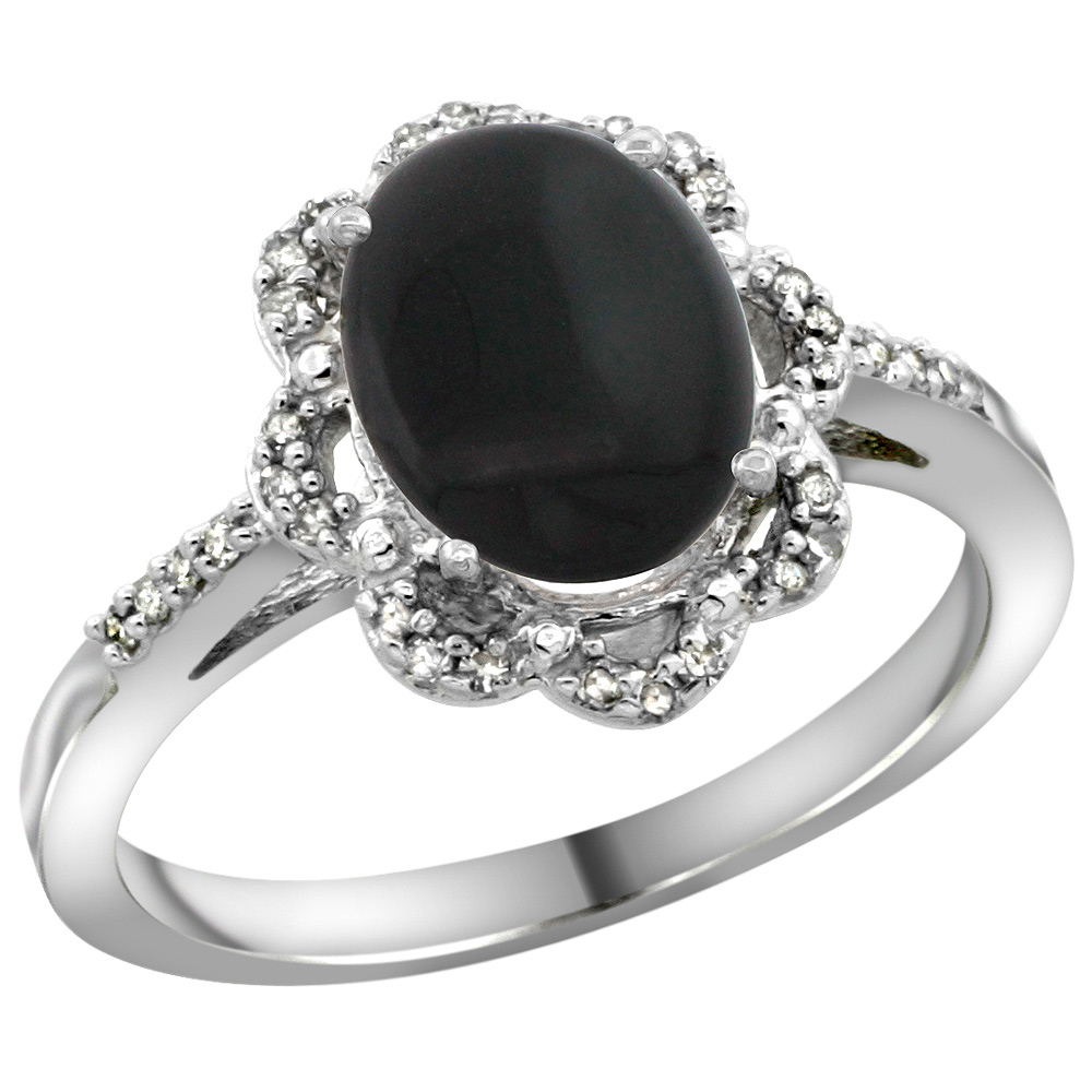 Sterling Silver Diamond Halo Natural Black Onyx Ring Oval 9x7mm, 7/16 inch wide, sizes 5-10