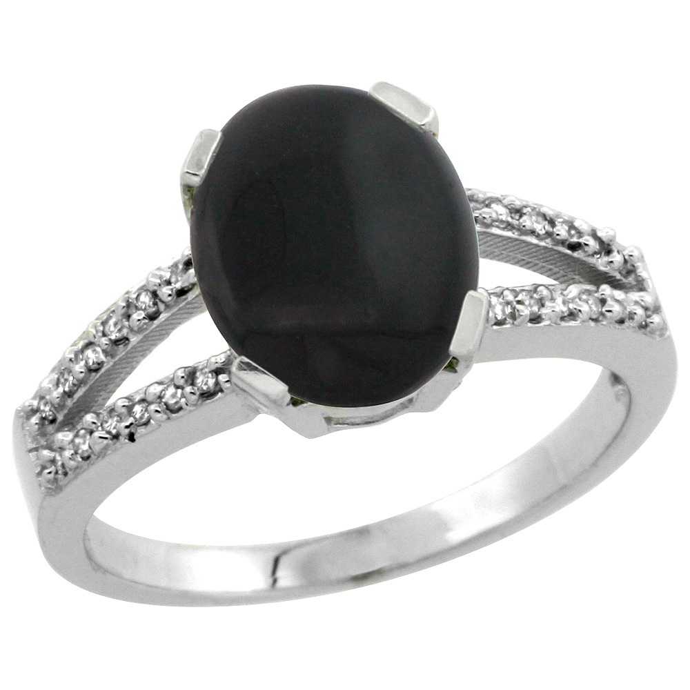 Sterling Silver Diamond Halo Natural Black Onyx Ring Oval 10x8mm, 3/8 inch wide, sizes 5-10