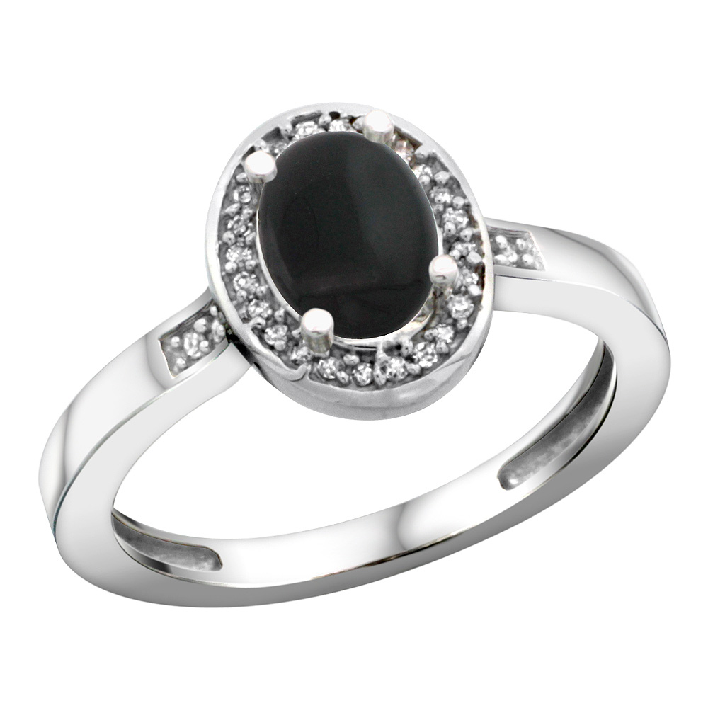 Sterling Silver Diamond Natural Black Onyx Ring Oval 7x5mm, 1/2 inch wide, sizes 5-10