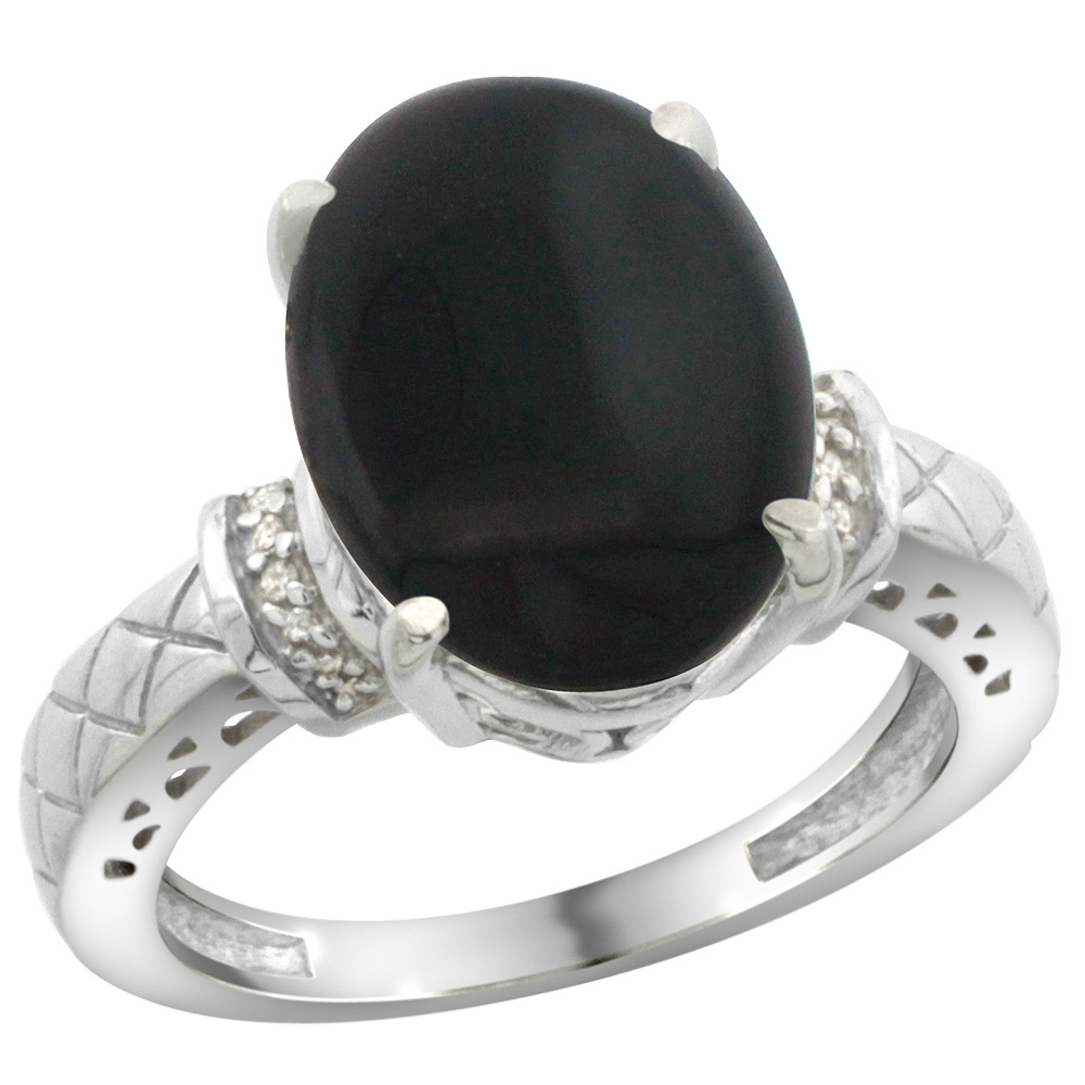 Sterling Silver Diamond Natural Black Onyx Ring Oval 14x10mm, sizes 5-10