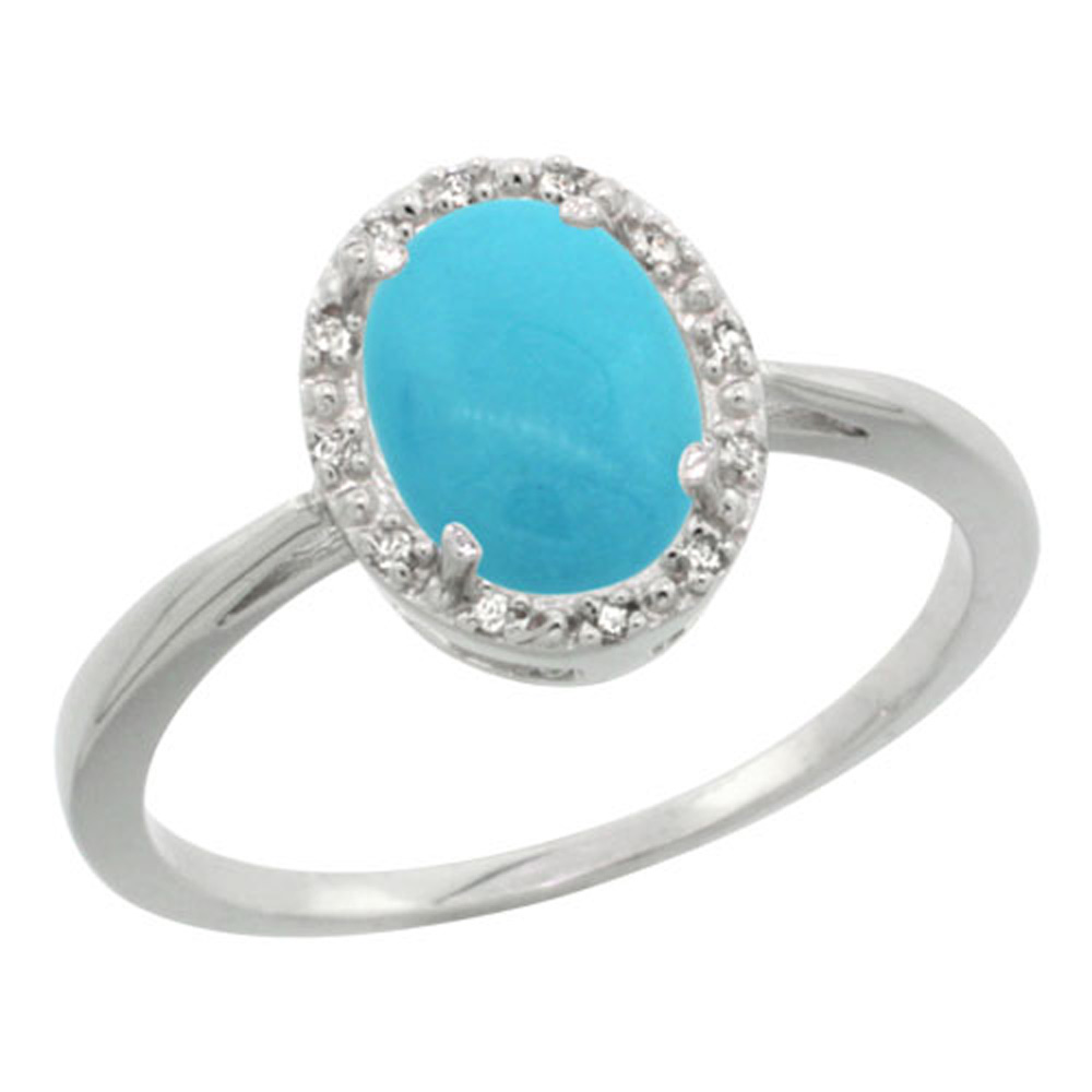 Sterling Silver Diamond Sleeping Beauty Turquoise Halo Ring Oval 8X6mm, 1/2 inch wide, sizes 5-10