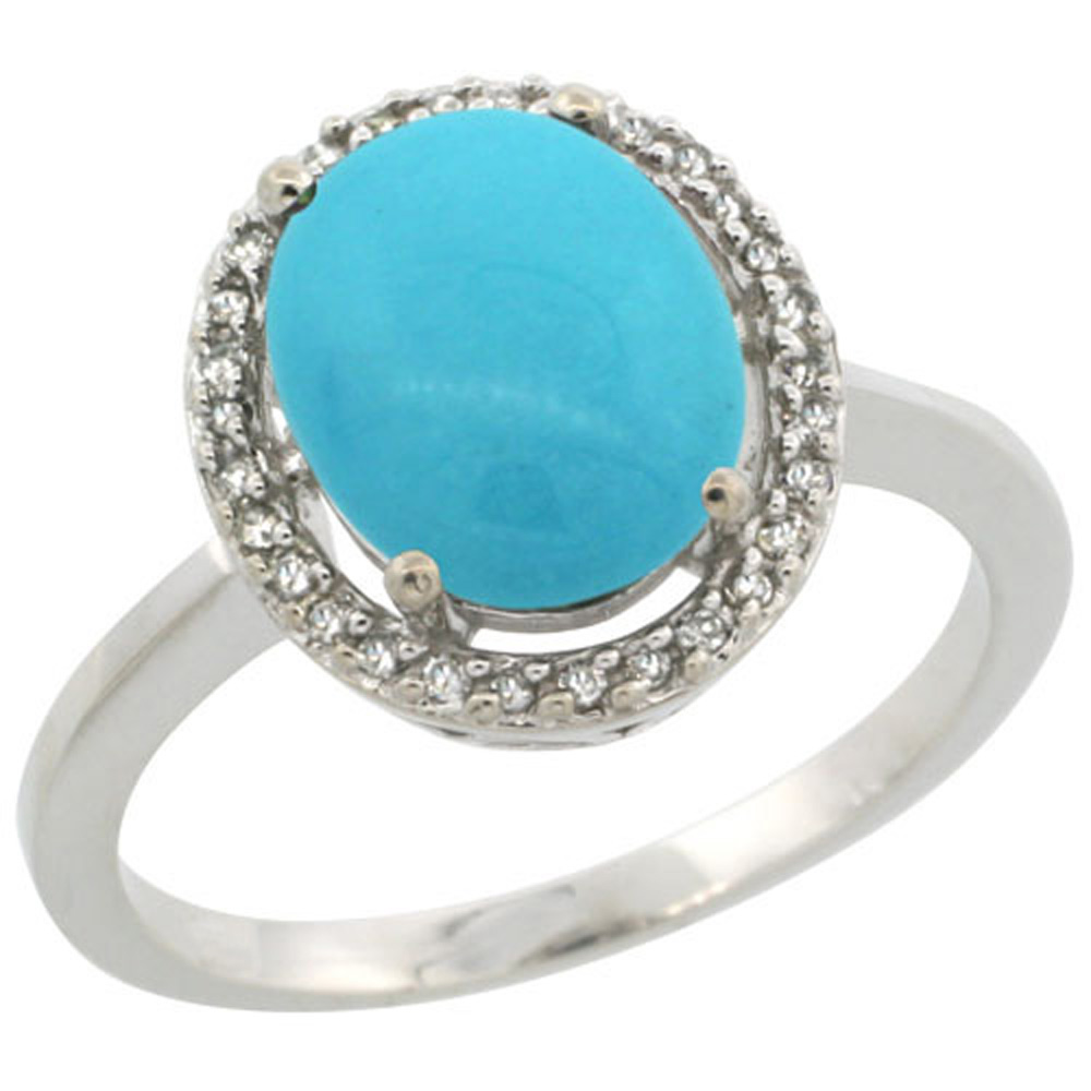 Sterling Silver Diamond Sleeping Beauty Turquoise Halo Ring Oval 10X8 mm, 1/2 inch wide, sizes 5 10