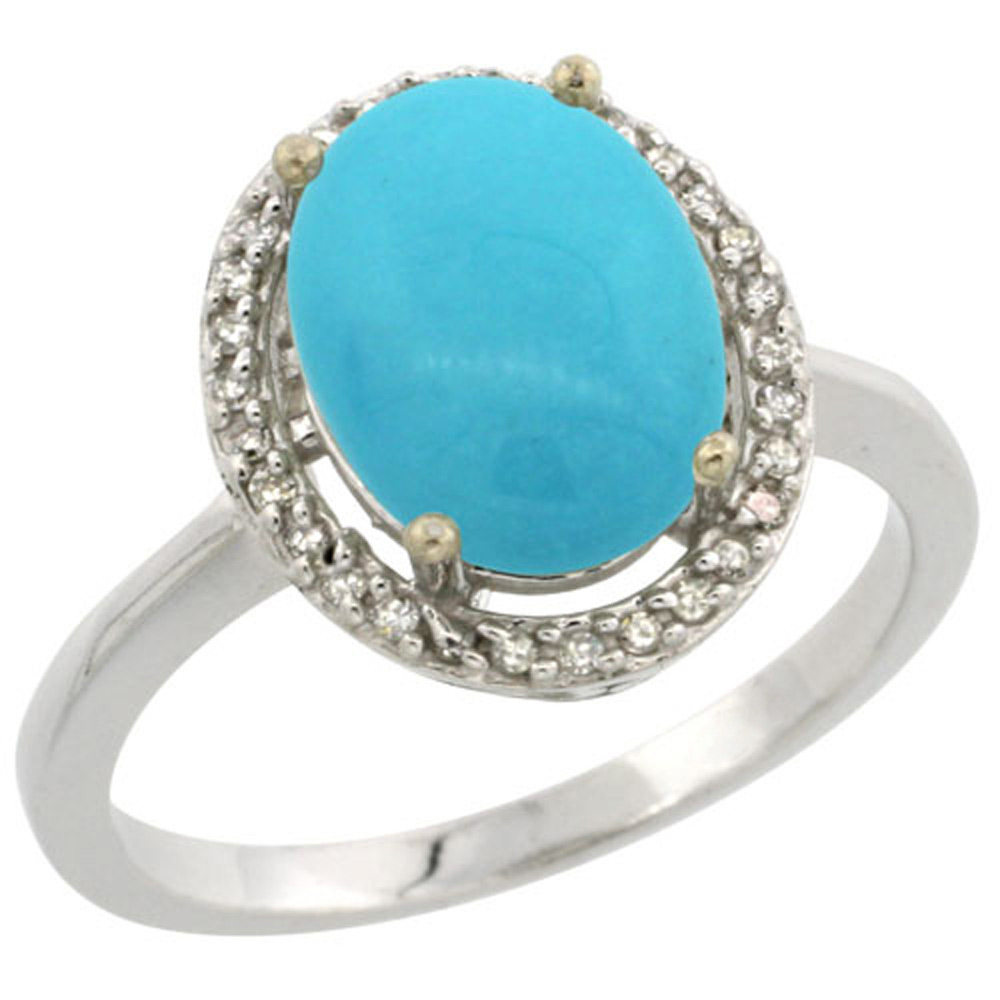 Sterling Silver Diamond Natural Sleeping Beauty Turquoise Ring Oval 10x8mm, 1/2 inch wide, sizes 5-10