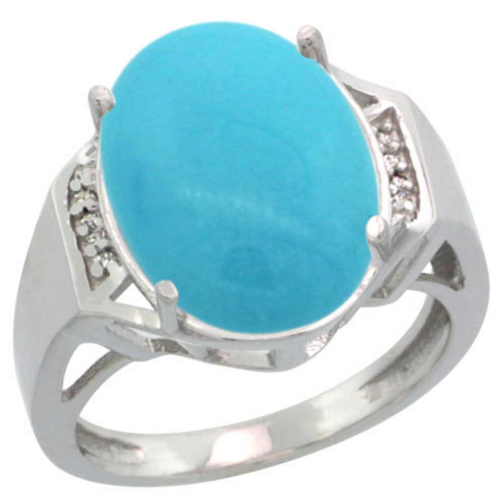 Sterling Silver Diamond Sleeping Beauty Turquoise Ring Oval 16x12mm, 5/8 inch wide, sizes 5-10