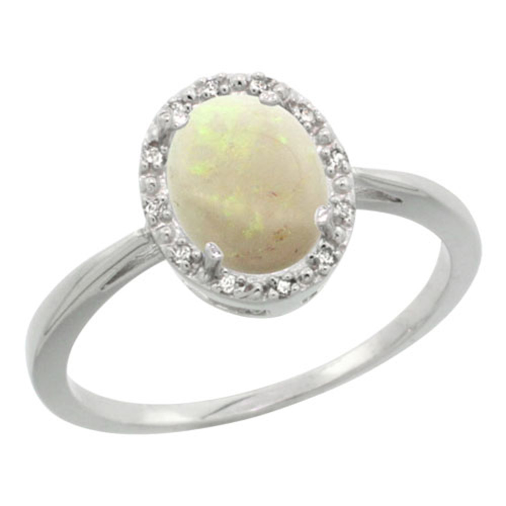 Sterling Silver Natural Opal Diamond Halo Ring Oval 8X6mm, 1/2 inch wide, sizes 5-10