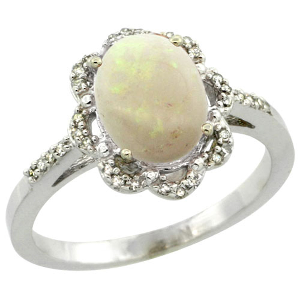 Sterling Silver Diamond Halo Natural Opal Ring Oval 9x7mm, 7/16 inch wide, sizes 5-10