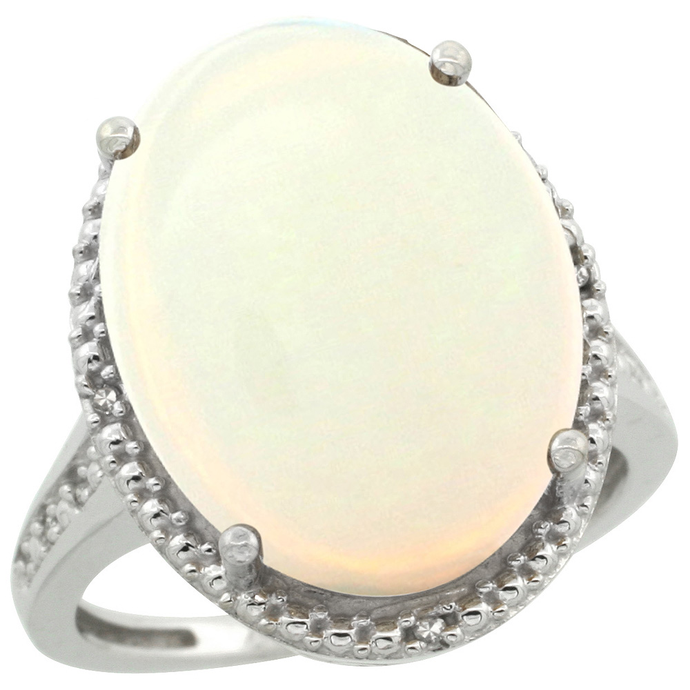 Sterling Silver Diamond Natural Opal Ring Oval 18x13mm, 3/4 inch wide, sizes 5-10