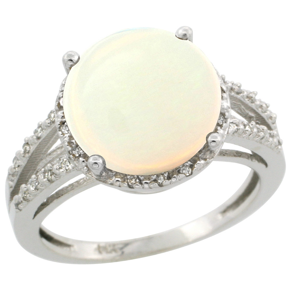 Sterling Silver Diamond Natural Opal Ring Round 11mm, 1/2 inch wide, sizes 5-10