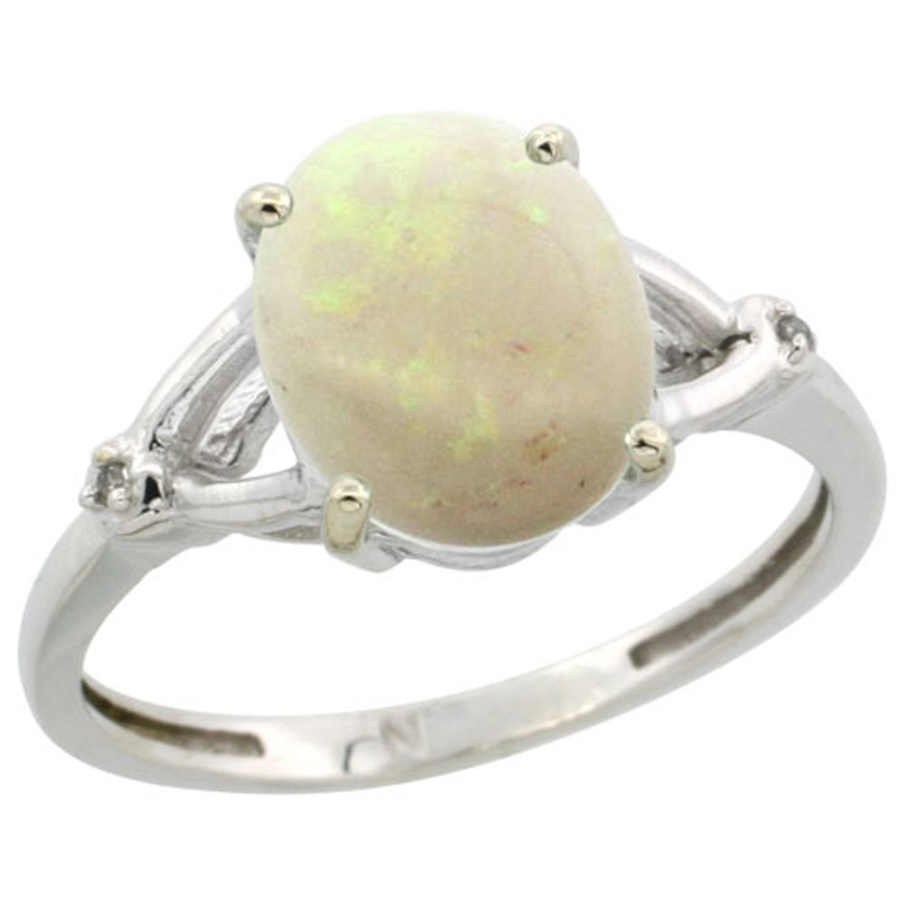 Sterling Silver Diamond 10x8mm Oval Natural Opal Engagement Ring for Women 3/8 inch wide Sizes 5-10