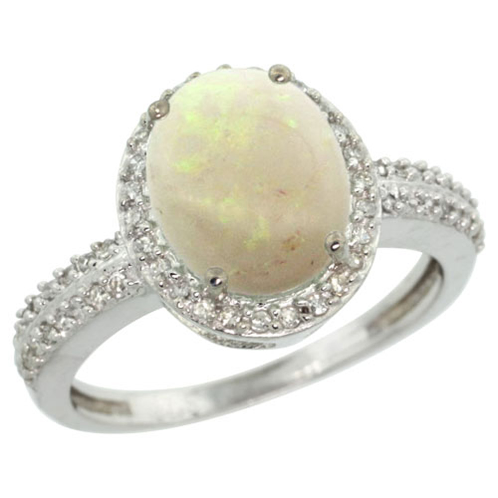 Sterling Silver Diamond Natural Opal Ring Oval 10x8mm, 1/2 inch wide, sizes 5-10