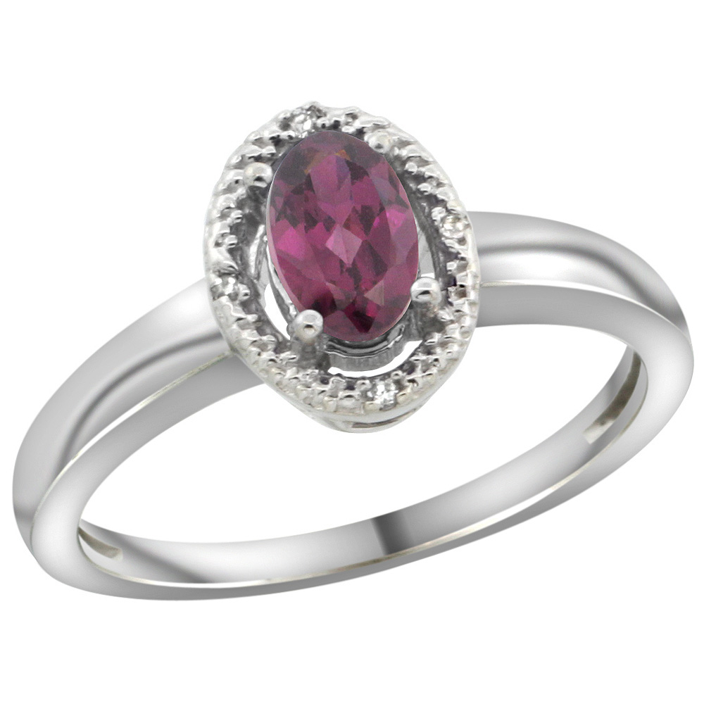 Sterling Silver Diamond Halo Natural Rhodolite Ring Oval 6X4 mm, 3/8 inch wide, sizes 5-10